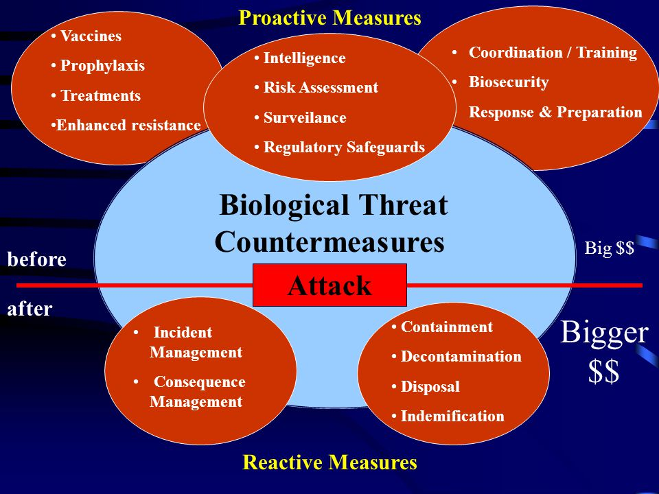 Biological Threat Countermeasures Vaccines Prophylaxis Treatments Enhanced resistance Coordination / Training Biosecurity Response & Preparation Containment Decontamination Disposal Indemification Incident Management Consequence Management Intelligence Risk Assessment Surveilance Regulatory Safeguards before after Big $$ Bigger $$ Attack Reactive Measures Proactive Measures