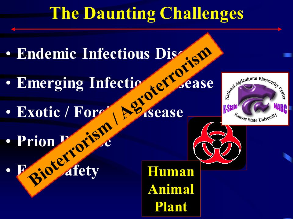 The Daunting Challenges Endemic Infectious Disease Emerging Infectious Disease Exotic / Foreign Disease Prion Disease Food Safety Human Animal Plant Bioterrorism / Agroterrorism