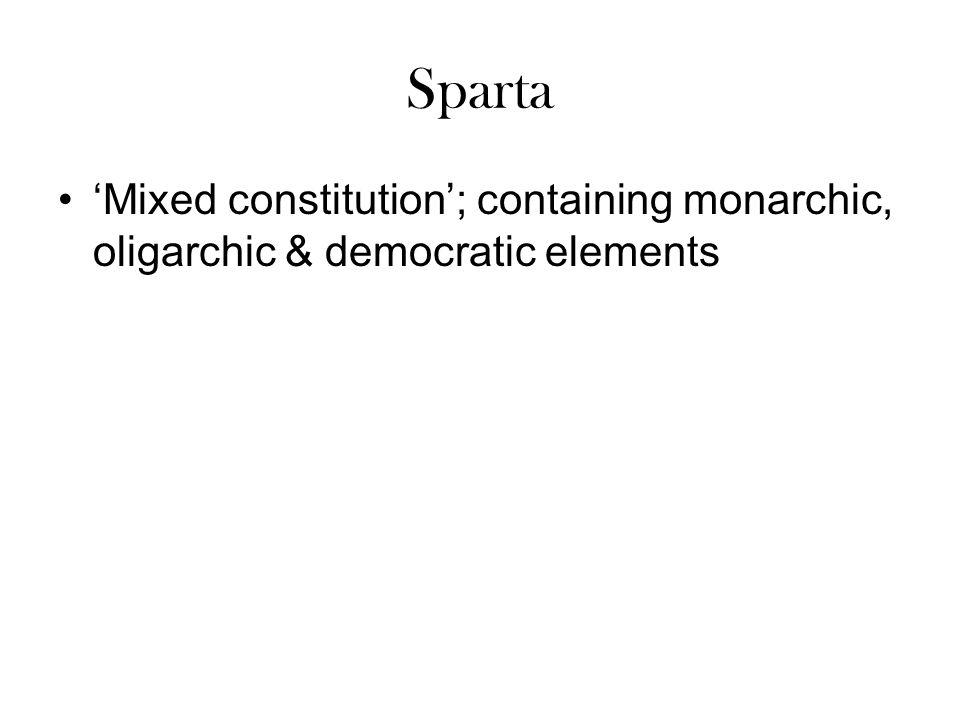 Sparta 'Mixed constitution'; containing monarchic, oligarchic & democratic elements