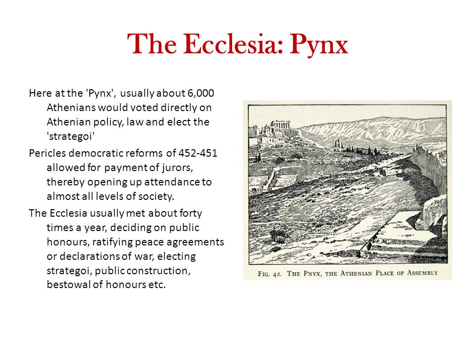 The Ecclesia: Pynx Here at the Pynx , usually about 6,000 Athenians would voted directly on Athenian policy, law and elect the strategoi Pericles democratic reforms of 452-451 allowed for payment of jurors, thereby opening up attendance to almost all levels of society.