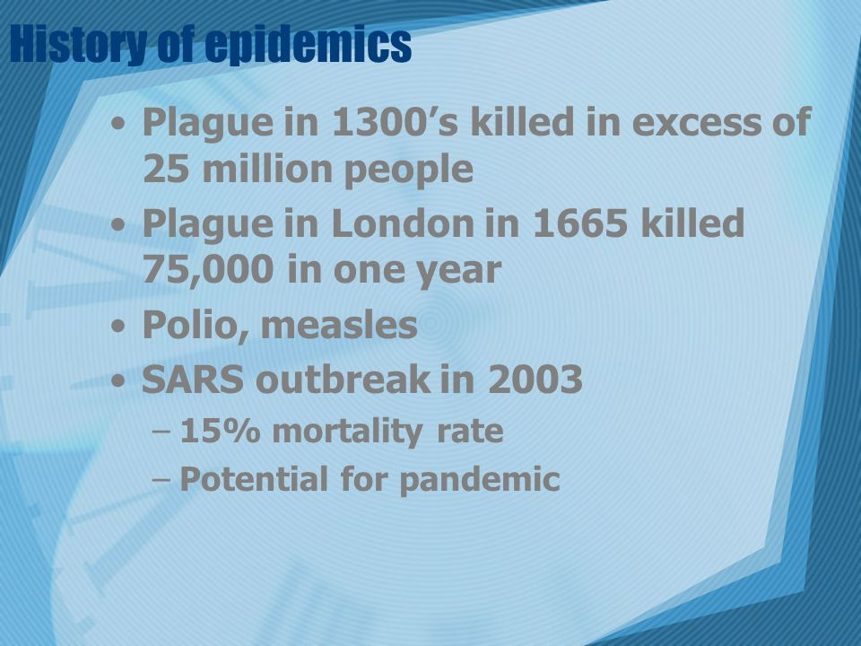 History of epidemics Plague in 1300's killed in excess of 25 million people Plague in London in 1665 killed 75,000 in one year Polio, measles SARS outbreak in 2003 –15% mortality rate –Potential for pandemic