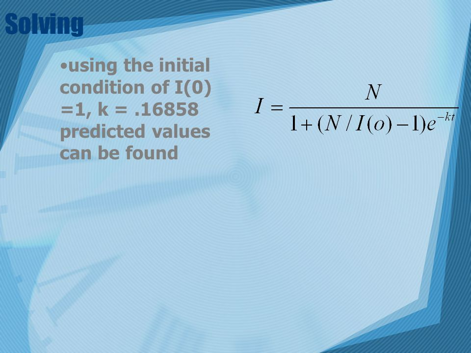 Solving using the initial condition of I(0) =1, k =.16858 predicted values can be found
