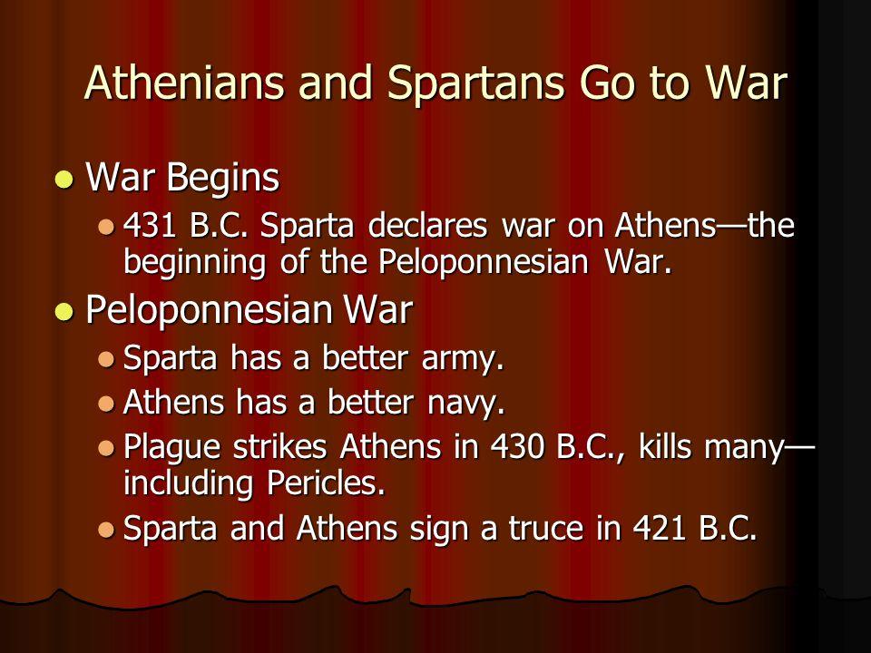 Athenians and Spartans Go to War War Begins War Begins 431 B.C. Sparta declares war on Athens—the beginning of the Peloponnesian War. 431 B.C. Sparta