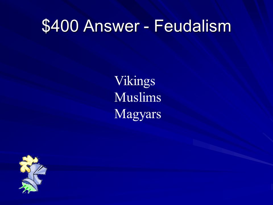 $400 Question - Feudalism Name one group that invaded Western Europe during the Middle Ages.