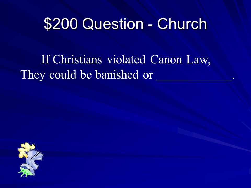 $100 Answer - Church The Pope