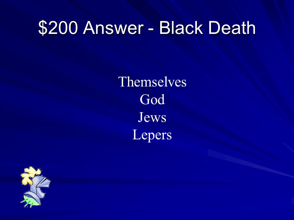 $200 Question - Black Death Who did Europeans blame for The Black Death