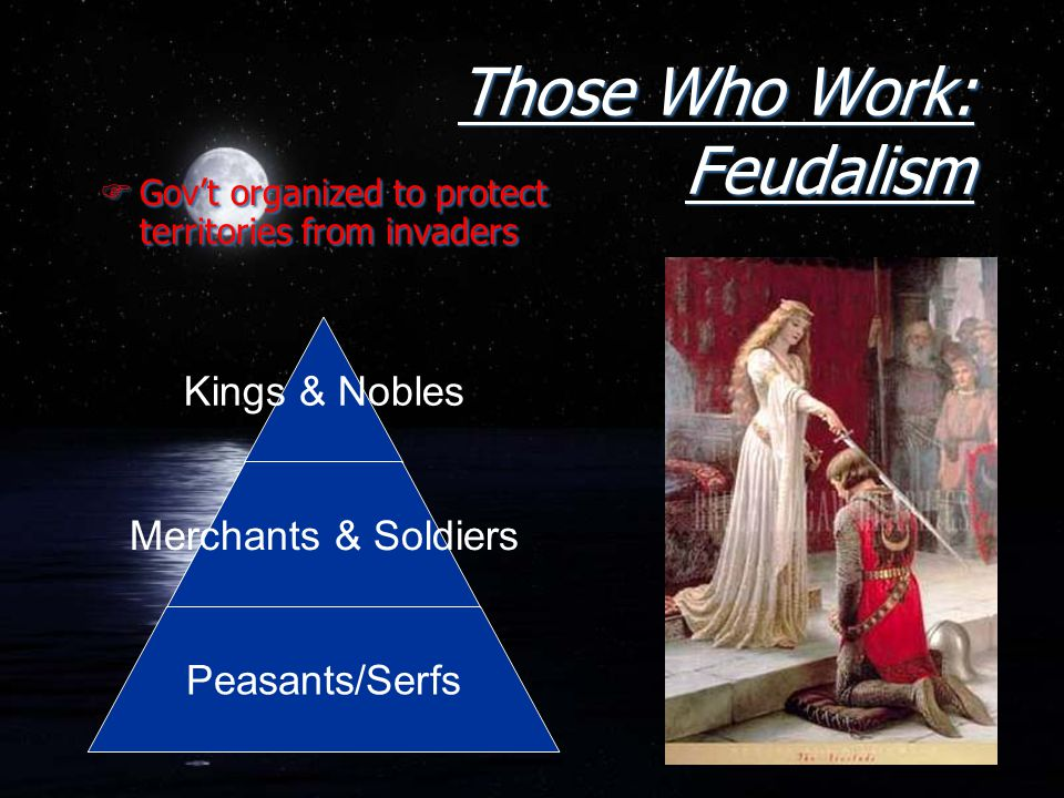 Those Who Work: Feudalism FGov't organized to protect territories from invaders Kings & Nobles Merchants & Soldiers Peasants/Serfs