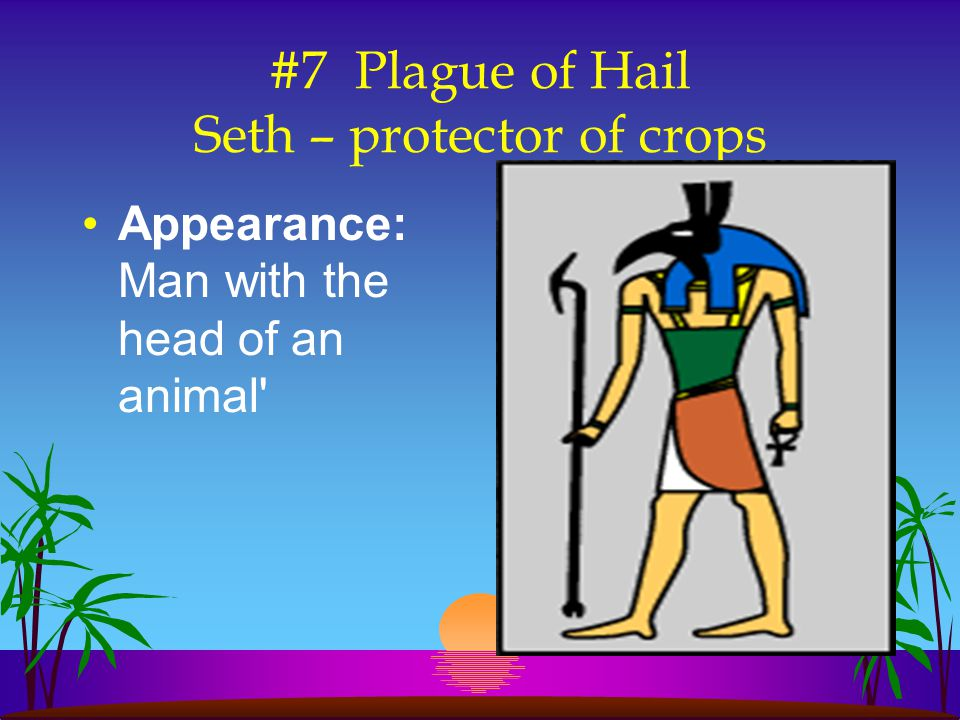 #7 Plague of Hail Seth – protector of crops Appearance: Man with the head of an animal'