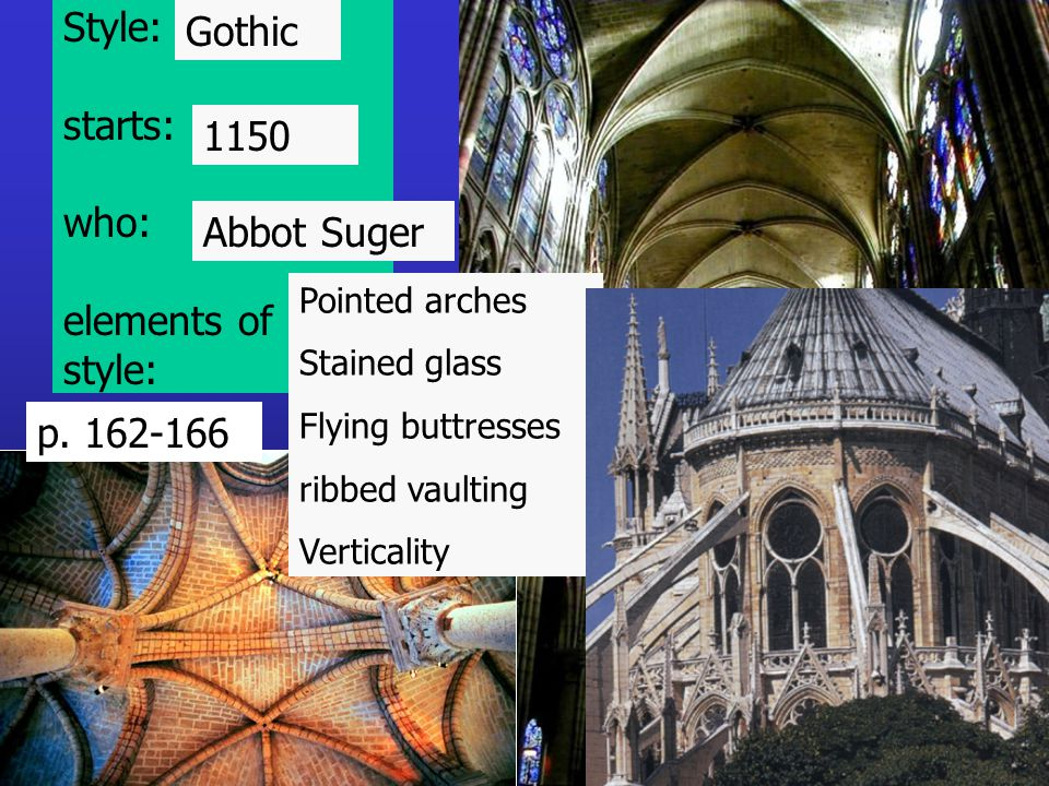 Style: starts: who: elements of style: Pointed arches Stained glass Flying buttresses ribbed vaulting Verticality Gothic 1150 Abbot Suger p. 162-166