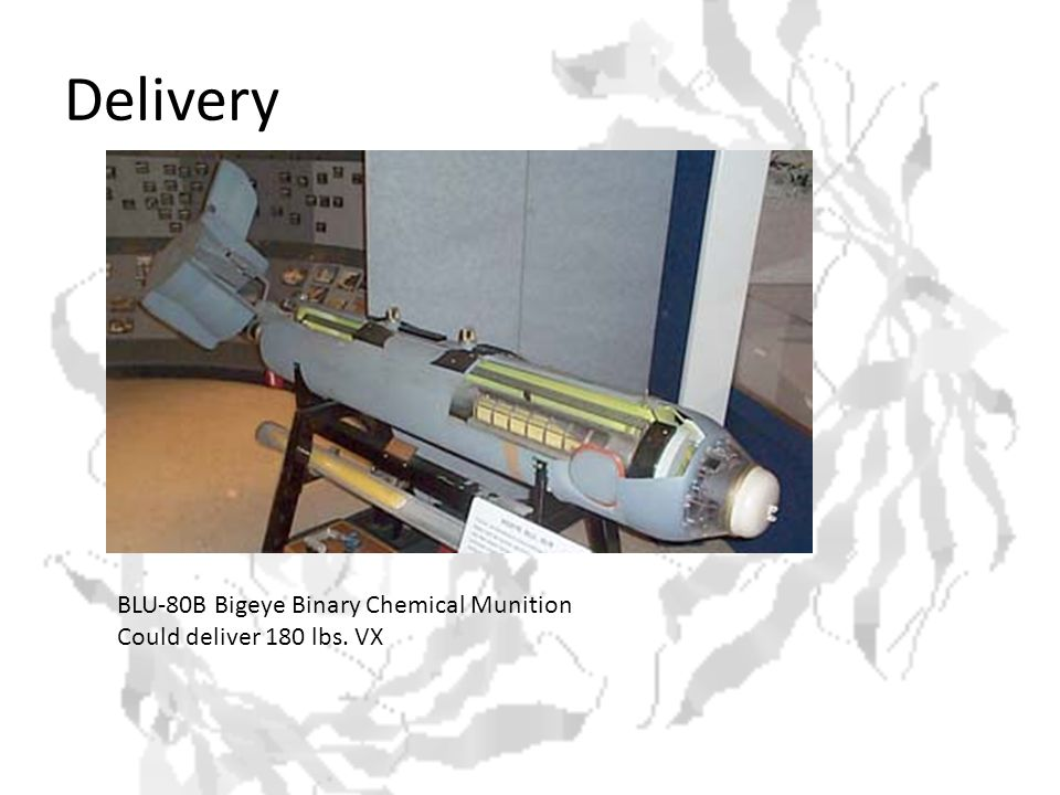 Delivery BLU-80B Bigeye Binary Chemical Munition Could deliver 180 lbs. VX