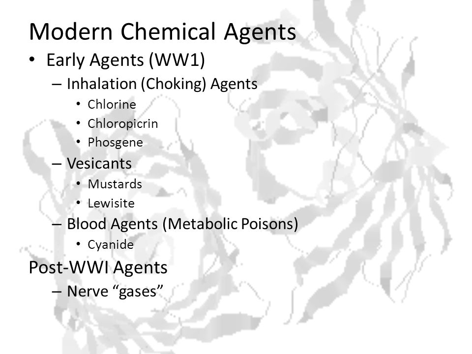 Significant Terrorist Incidents Involving Chemical and Biological Agents YearOrganizationAgents 1946 DIN ( Revenge in Hebrew; also Dahm Y Israel Nokeam, Avenging Israel s Blood ) (Germany) Arsenic Compounds 1970 Weather Underground (United States) Tried to obtain agents from Ft.