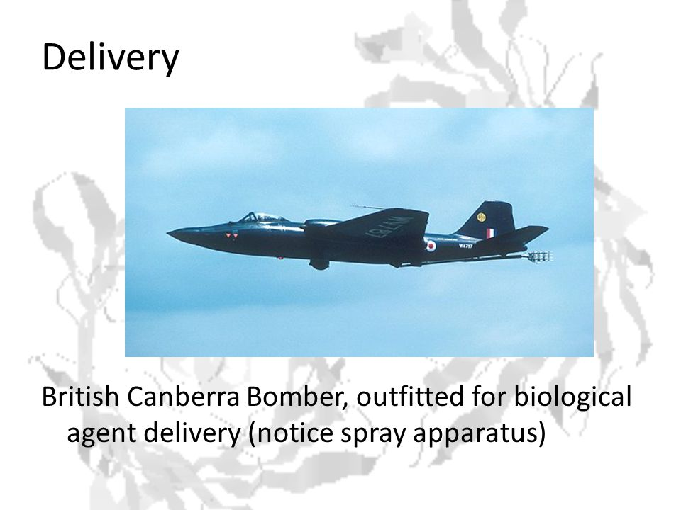 Delivery British Canberra Bomber, outfitted for biological agent delivery (notice spray apparatus)