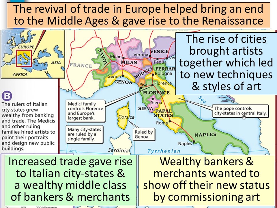 The revival of trade in Europe helped bring an end to the Middle Ages & gave rise to the Renaissance Increased trade gave rise to Italian city-states