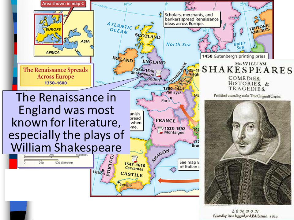 The Renaissance in England was most known for literature, especially the plays of William Shakespeare