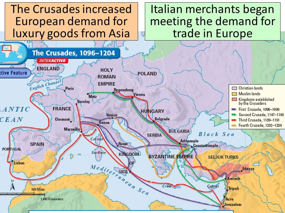 The Crusades increased European demand for luxury goods from Asia Italian merchants began meeting the demand for trade in Europe