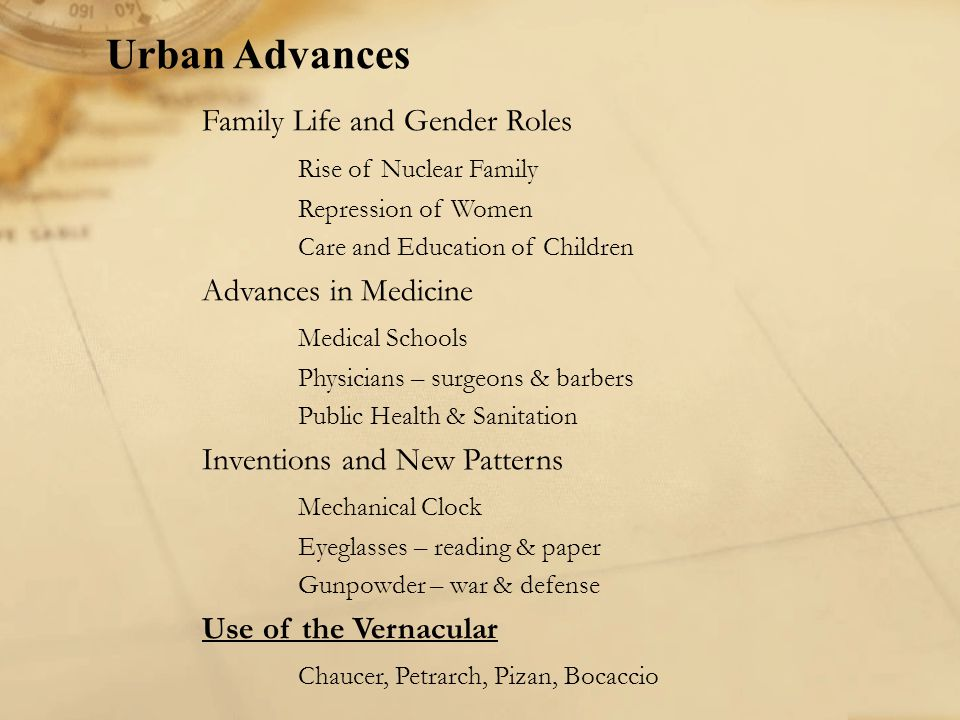 Urban Advances Family Life and Gender Roles Rise of Nuclear Family Repression of Women Care and Education of Children Advances in Medicine Medical Sch