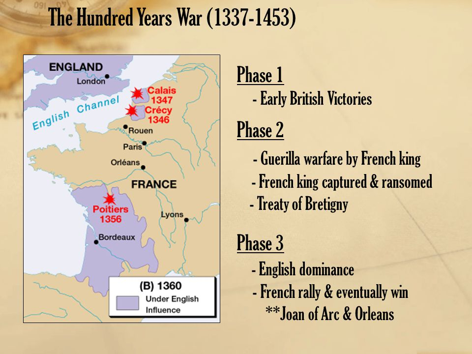 Phase 1 - Early British Victories Phase 2 - Guerilla warfare by French king - French king captured & ransomed - Treaty of Bretigny Phase 3 - English d