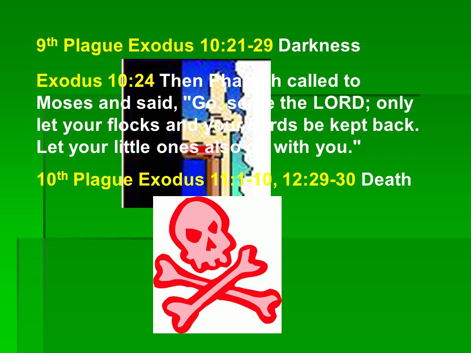 9 th Plague Exodus 10:21-29 Darkness 10 th Plague Exodus 11:1-10, 12:29-30 Death Exodus 10:24 Then Pharaoh called to Moses and said, Go, serve the LORD; only let your flocks and your herds be kept back.