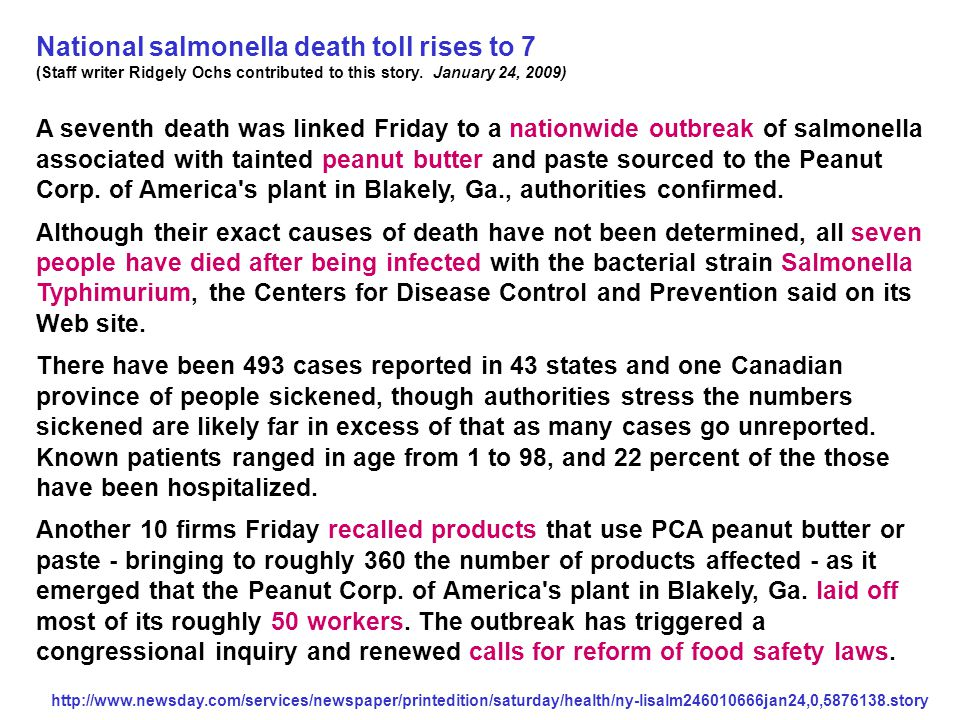 National salmonella death toll rises to 7 (Staff writer Ridgely Ochs contributed to this story.