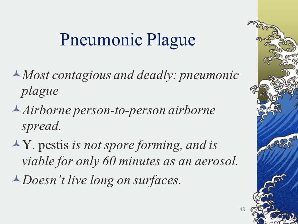 Pneumonic Plague Most contagious and deadly: pneumonic plague Airborne person-to-person airborne spread. Y. pestis is not spore forming, and is viable