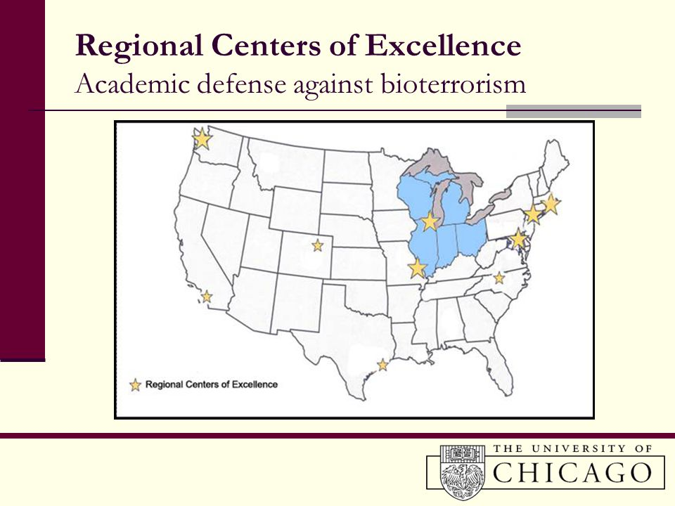Regional Centers of Excellence Academic defense against bioterrorism