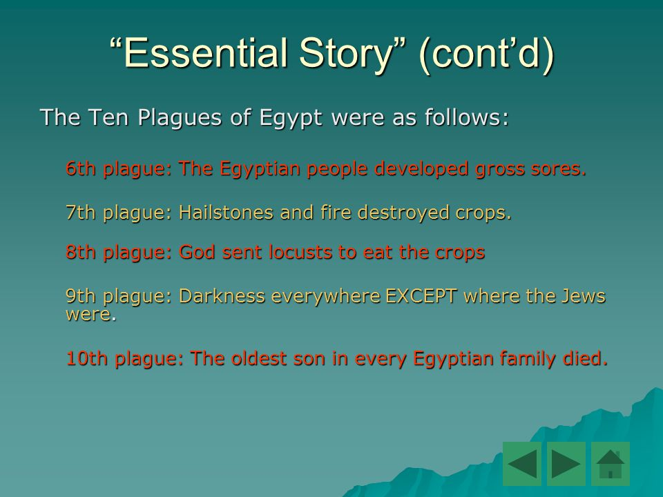"""""""Essential Story"""" (cont'd) The Ten Plagues of Egypt were as follows: 6th plague: The Egyptian people developed gross sores. 7th plague: Hailstones and"""