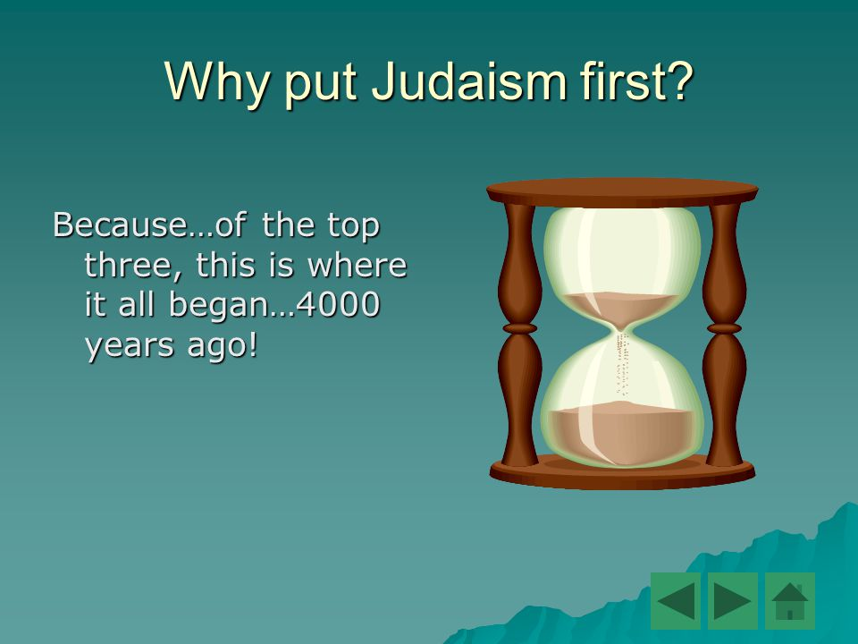 Why put Judaism first Because…of the top three, this is where it all began…4000 years ago!
