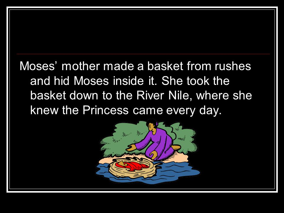 Moses' mother made a basket from rushes and hid Moses inside it.