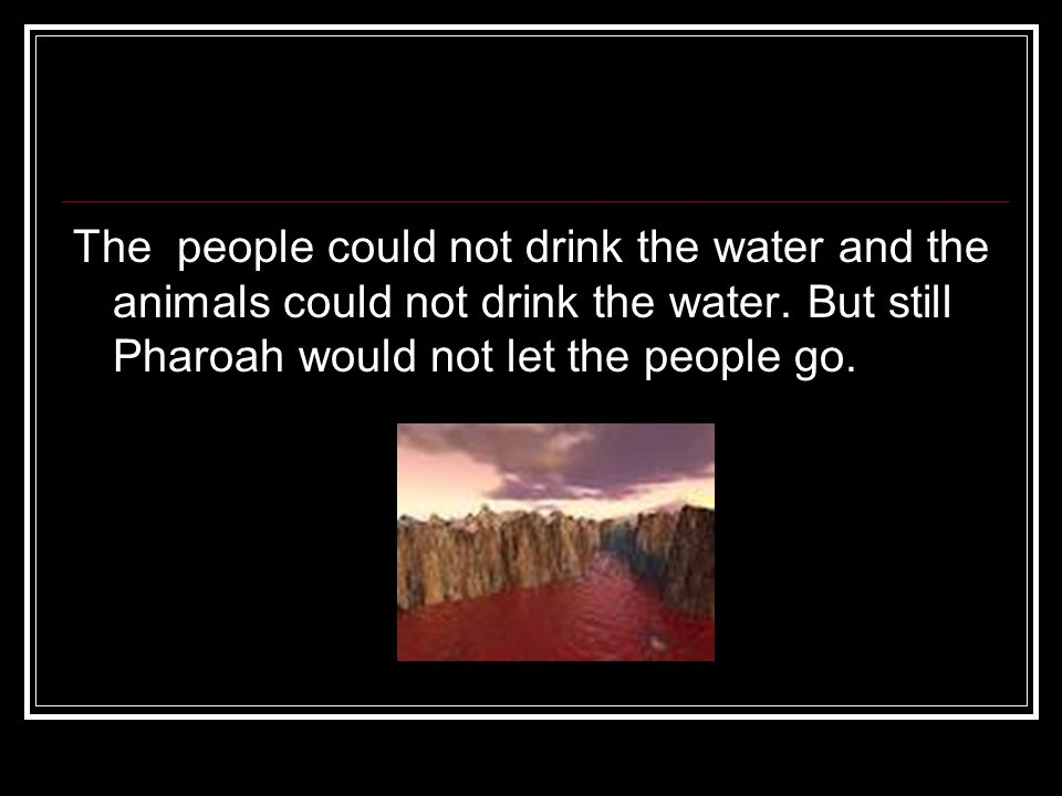 The people could not drink the water and the animals could not drink the water.