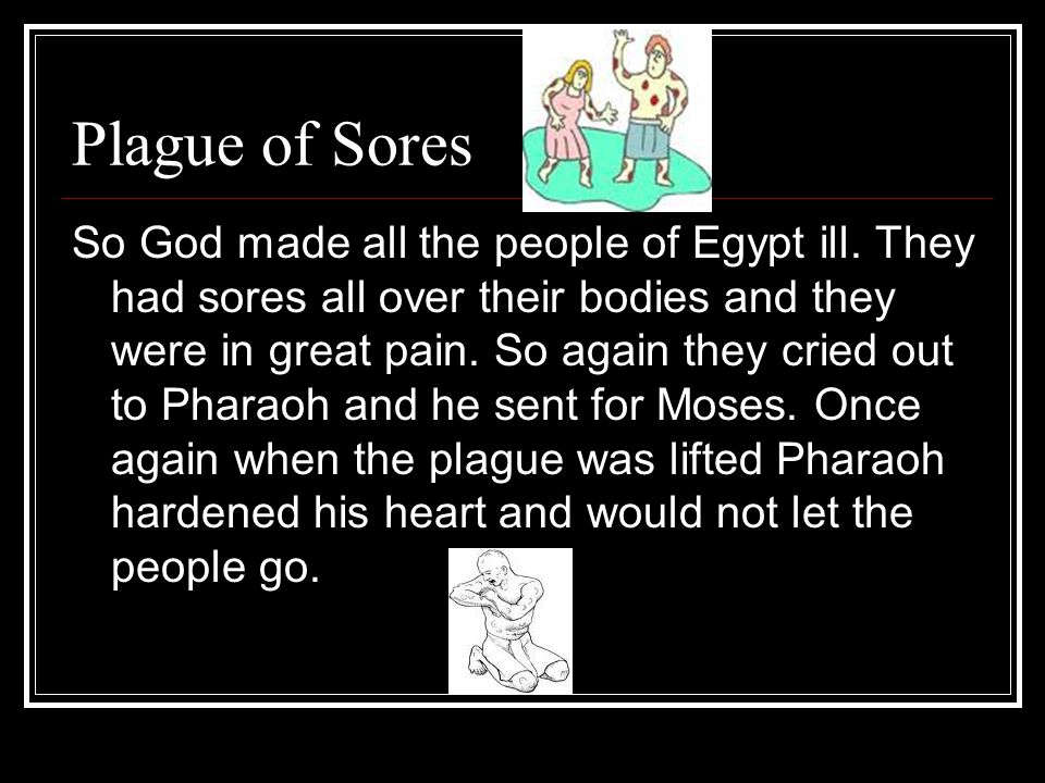 Plague of Sores So God made all the people of Egypt ill.