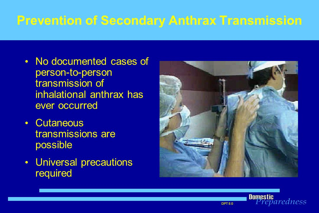 DPT 8.0 Prevention of Secondary Anthrax Transmission No documented cases of person-to-person transmission of inhalational anthrax has ever occurred Cu