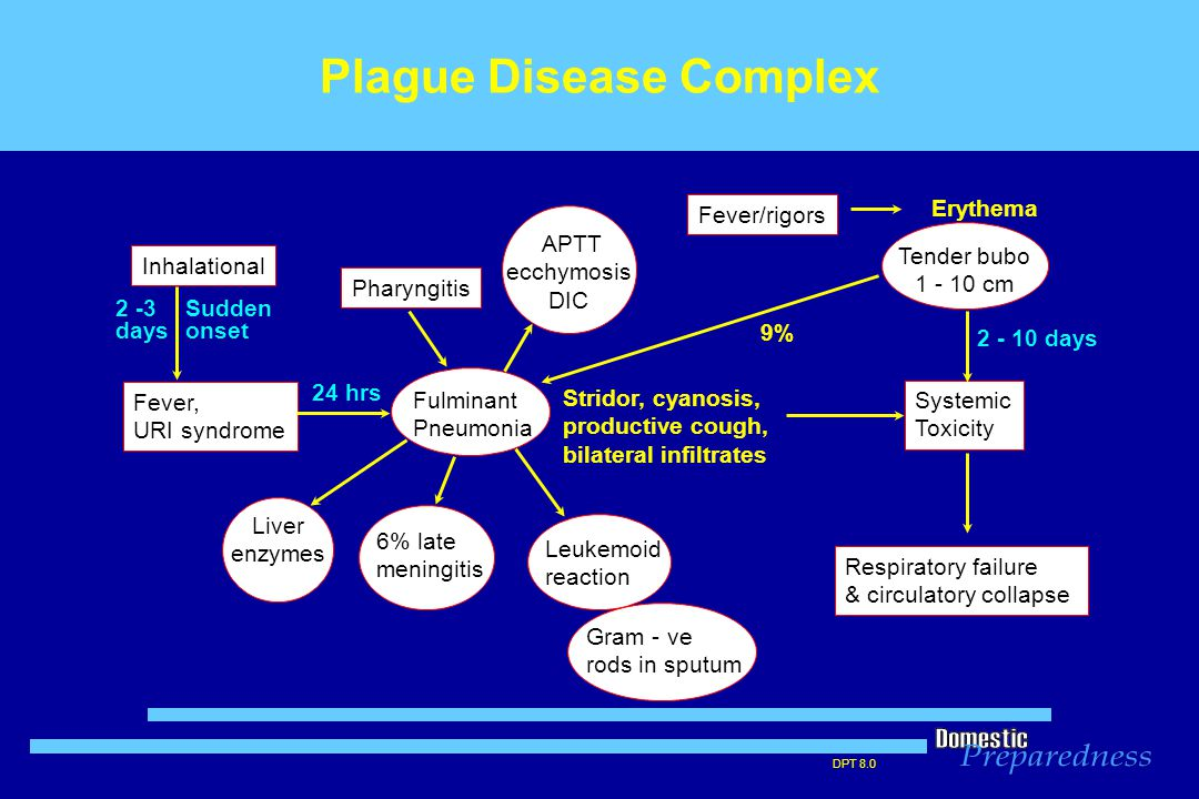 DPT 8.0 Plague Disease Complex Inhalational Systemic Toxicity Respiratory failure & circulatory collapse Liver enzymes  6% late meningitis Fulminant Pneumonia Fever, URI syndrome Sudden onset Leukemoid reaction Gram - ve rods in sputum Fever/rigors Erythema Tender bubo 1 - 10 cm  APTT ecchymosis DIC Stridor, cyanosis, productive cough, bilateral infiltrates Pharyngitis 2 -3 days 2 - 10 days 24 hrs 9%