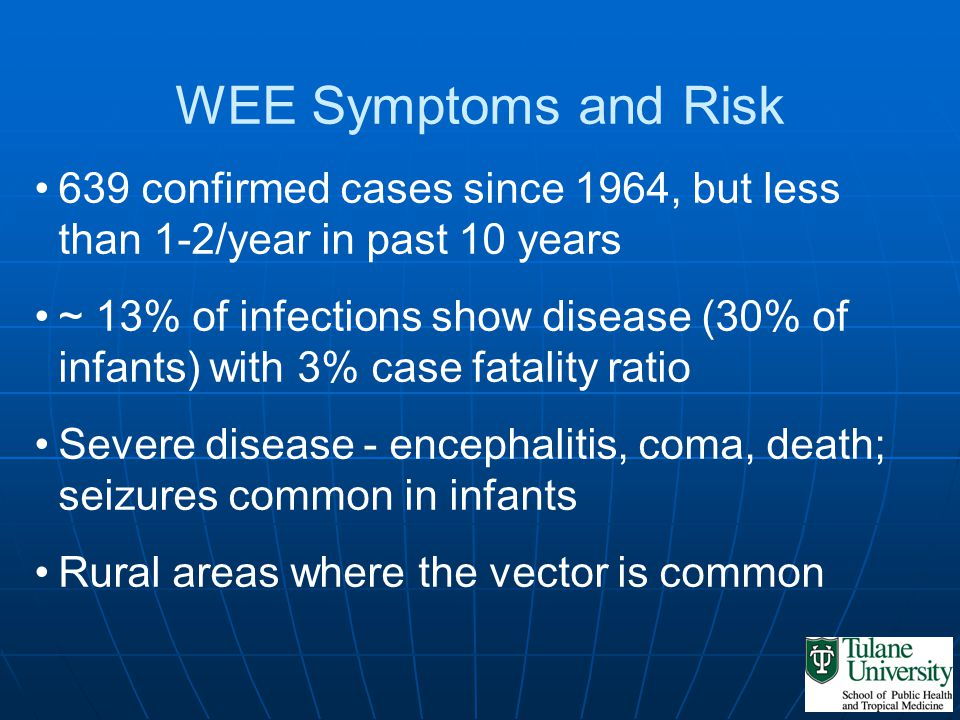 WEE Symptoms and Risk 639 confirmed cases since 1964, but less than 1-2/year in past 10 years ~ 13% of infections show disease (30% of infants) with 3