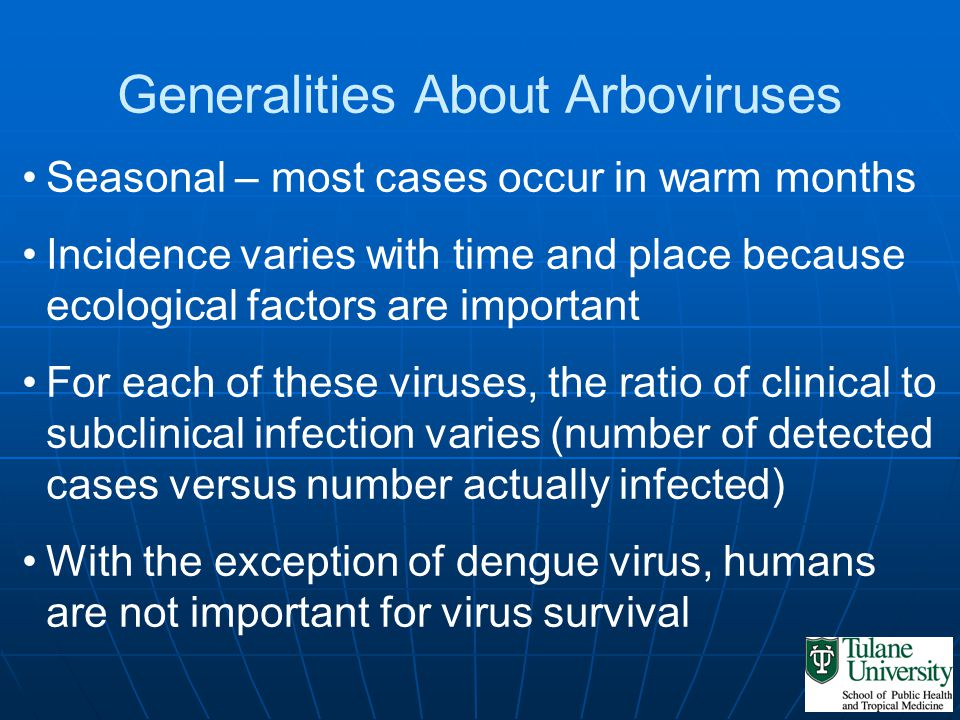 Generalities About Arboviruses Seasonal – most cases occur in warm months Incidence varies with time and place because ecological factors are importan