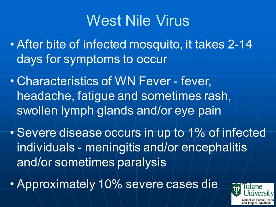 West Nile Virus After bite of infected mosquito, it takes 2-14 days for symptoms to occur Characteristics of WN Fever - fever, headache, fatigue and s