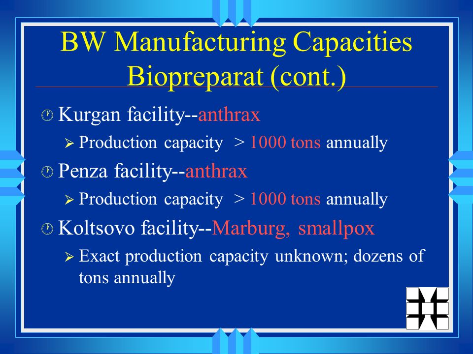 BW Manufacturing Capacities Biopreparat (cont.) · Kurgan facility--anthrax  Production capacity > 1000 tons annually · Penza facility--anthrax  Production capacity > 1000 tons annually · Koltsovo facility--Marburg, smallpox  Exact production capacity unknown; dozens of tons annually