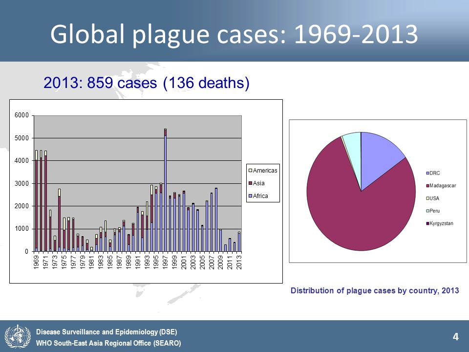 4 Disease Surveillance and Epidemiology (DSE) WHO South-East Asia Regional Office (SEARO) Global plague cases: 1969-2013 2013: 859 cases (136 deaths)