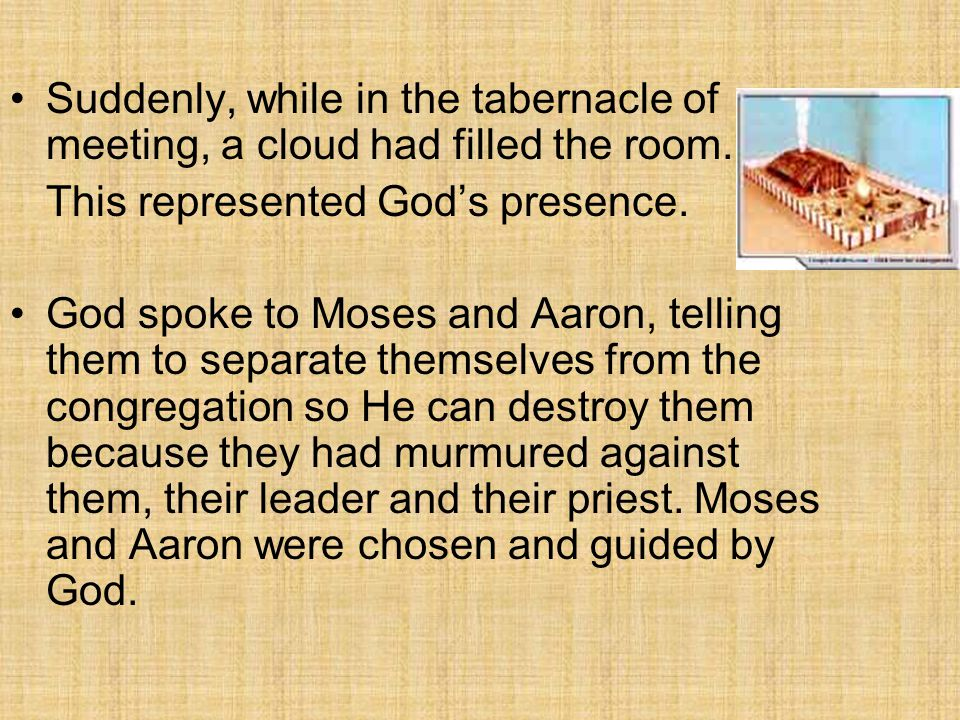 Suddenly, while in the tabernacle of meeting, a cloud had filled the room. This represented God's presence. God spoke to Moses and Aaron, telling them