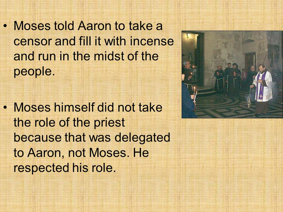 Moses told Aaron to take a censor and fill it with incense and run in the midst of the people. Moses himself did not take the role of the priest becau