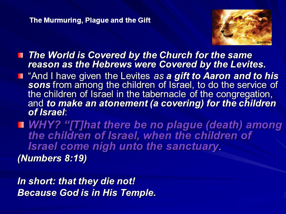 The World is Covered by the Church for the same reason as the Hebrews were Covered by the Levites.