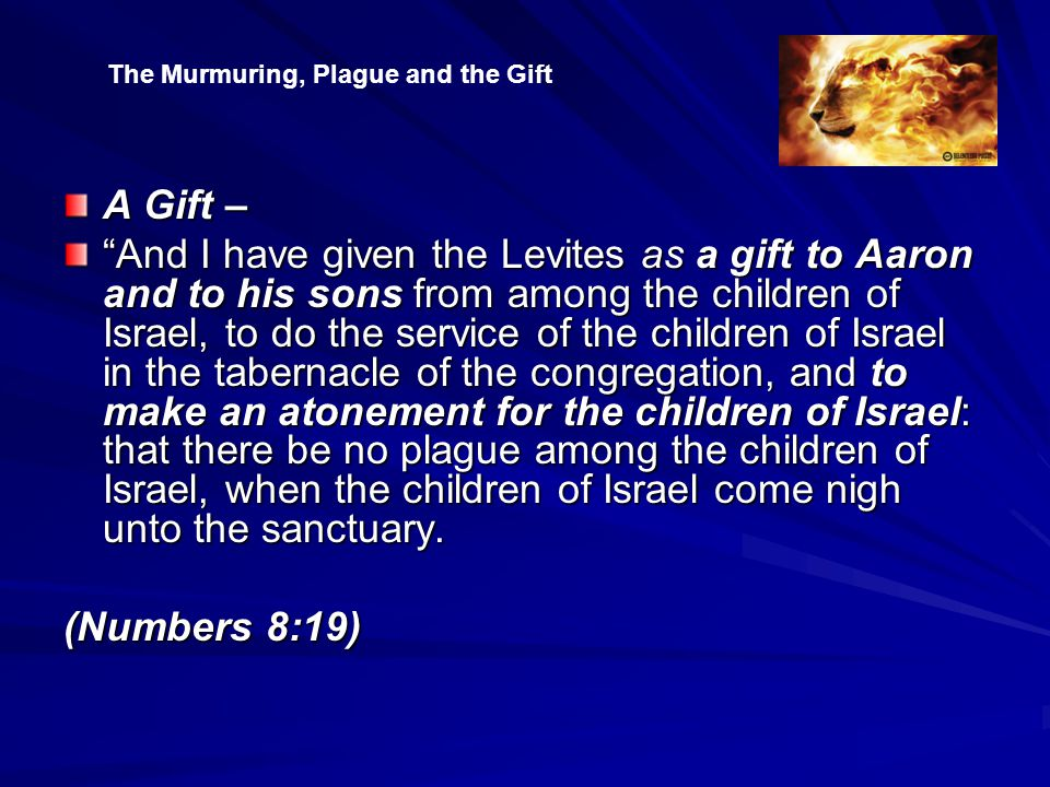 A Gift – And I have given the Levites as a gift to Aaron and to his sons from among the children of Israel, to do the service of the children of Israel in the tabernacle of the congregation, and to make an atonement for the children of Israel: that there be no plague among the children of Israel, when the children of Israel come nigh unto the sanctuary.