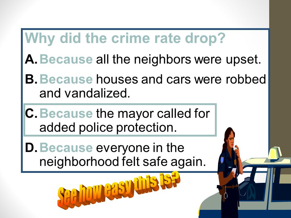 Why did the crime rate drop? A.Because all the neighbors were upset. B.Because houses and cars were robbed and vandalized. C.Because the mayor called
