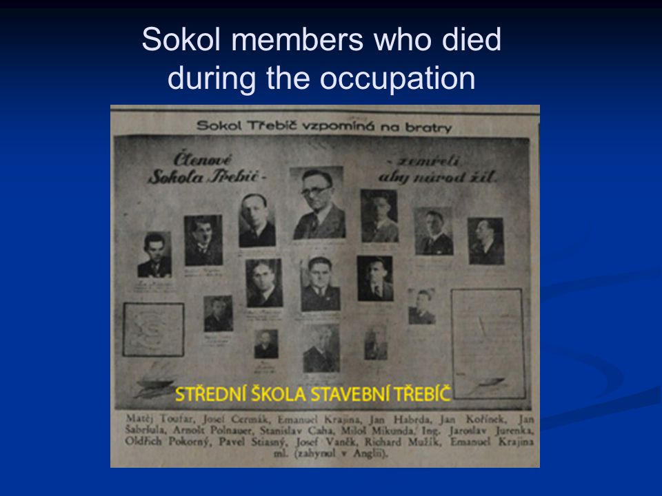 Sokol members who died during the occupation