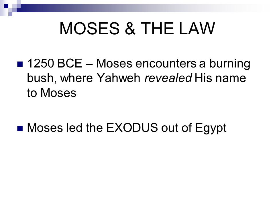 MOSES & THE LAW 1250 BCE – Moses encounters a burning bush, where Yahweh revealed His name to Moses Moses led the EXODUS out of Egypt