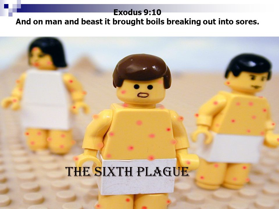 Exodus 9:10 And on man and beast it brought boils breaking out into sores. THE SIXTH PLAGUE