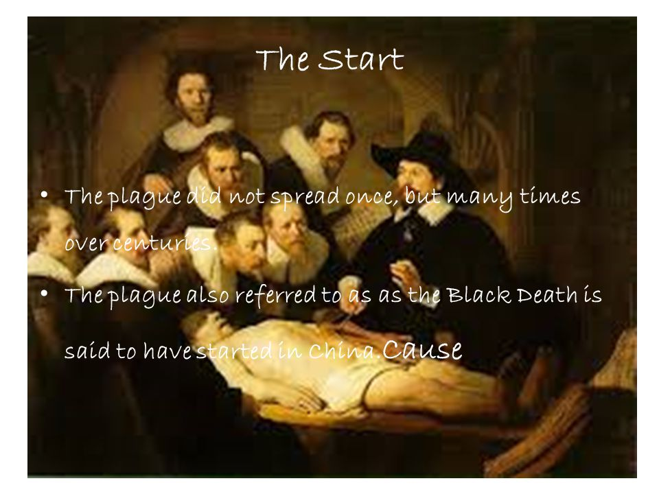 The Start The plague did not spread once, but many times over centuries. The plague also referred to as as the Black Death is said to have started in