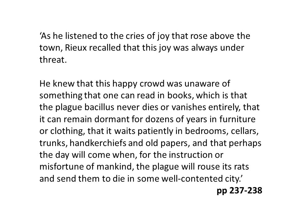 'As he listened to the cries of joy that rose above the town, Rieux recalled that this joy was always under threat. He knew that this happy crowd was