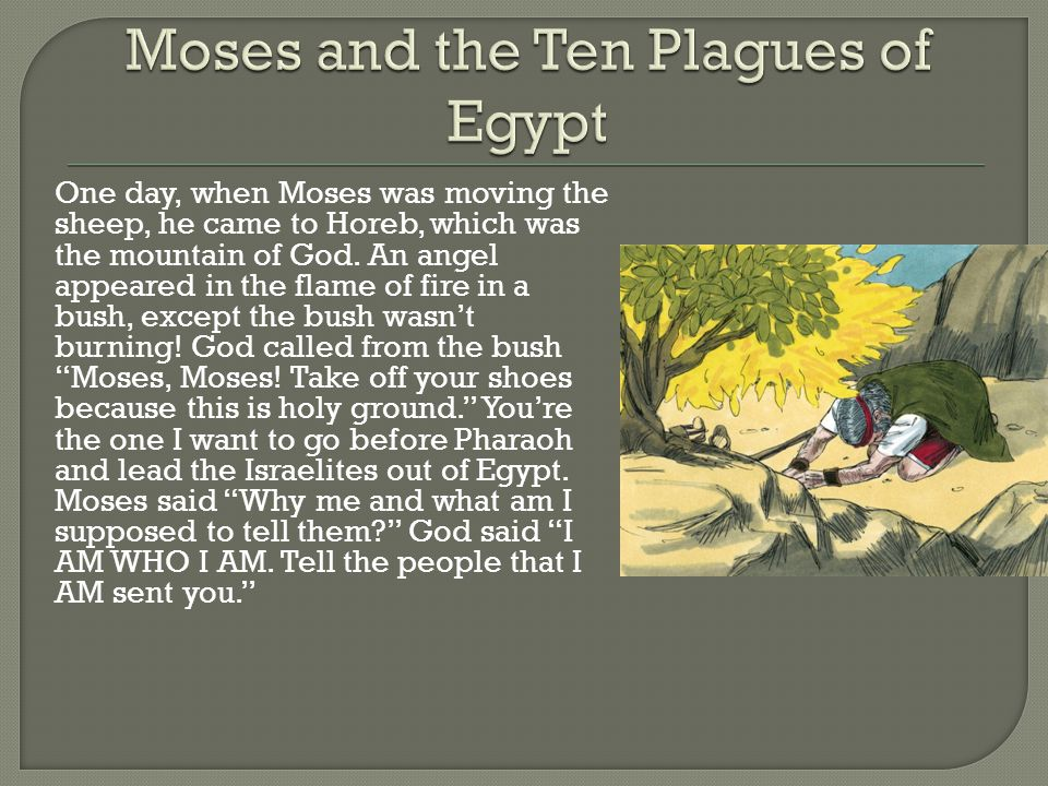 One day, when Moses was moving the sheep, he came to Horeb, which was the mountain of God.
