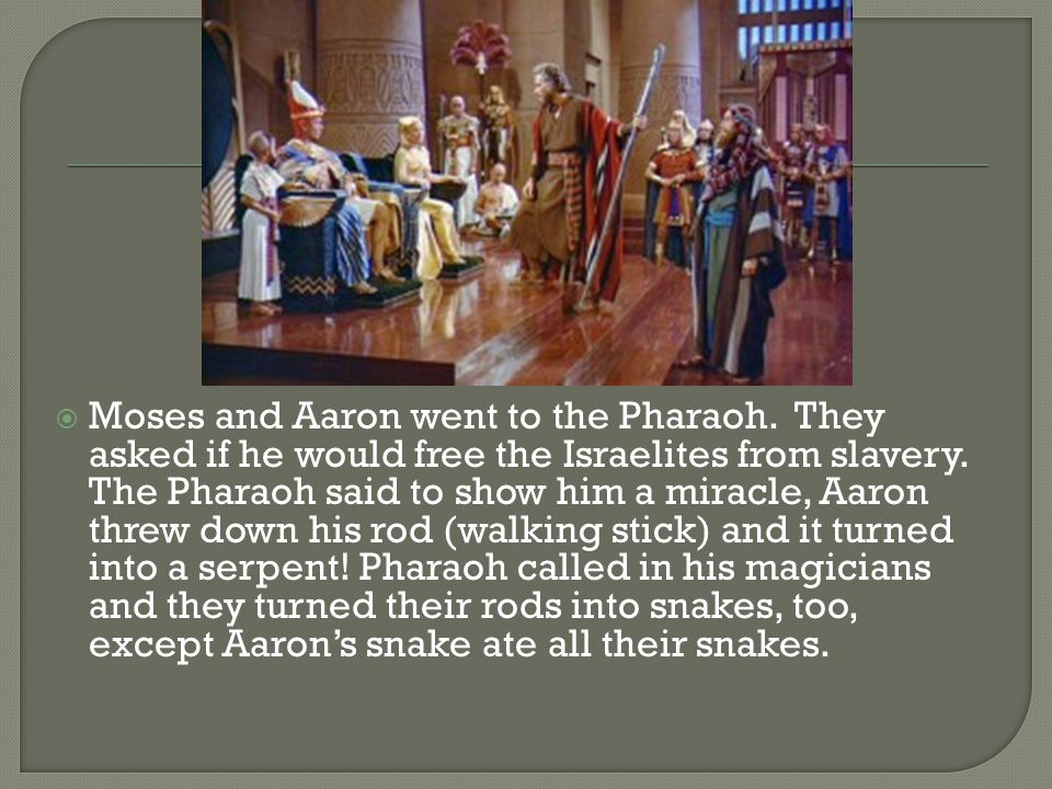  Moses and Aaron went to the Pharaoh. They asked if he would free the Israelites from slavery.