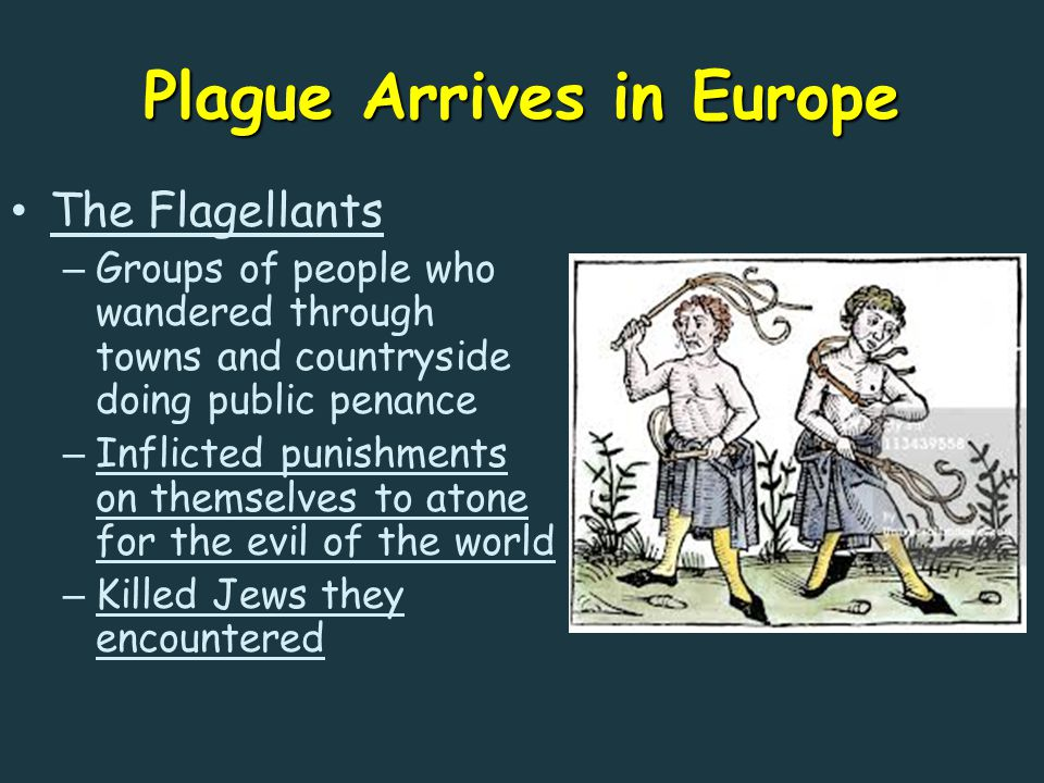 Plague Arrives in Europe The Flagellants – Groups of people who wandered through towns and countryside doing public penance – Inflicted punishments on